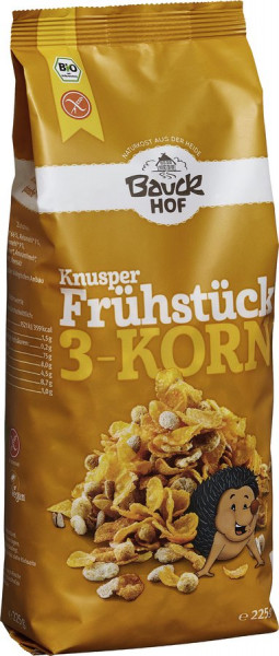*Bio Knusper Frühstück 3-Korn glutenfrei Bio (225g) Bauckhof