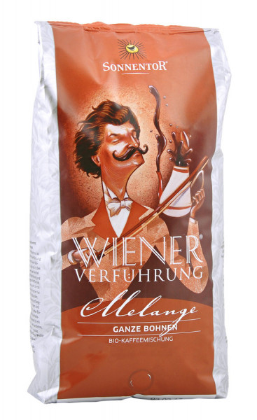 *Bio Melange Kaffee ganze Bohne Wiener Verführung®, Großpackung (1000g) Sonnentor