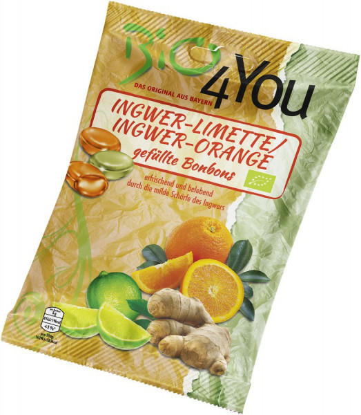 *Bio Bio-Bonbon-Ingwer-Limette & Ingwer-Orange, gefüllt (75g) Bio4You