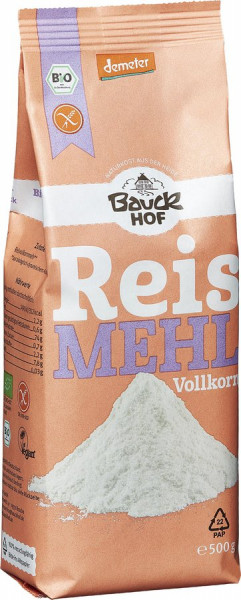 *Bio Reismehl Vollkorn glutenfrei Demeter (500g) Bauckhof