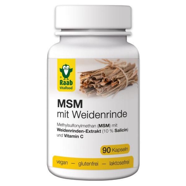 MSM mit Weidenrinde 90 Kapseln (56,7g) Raab Vitalfood