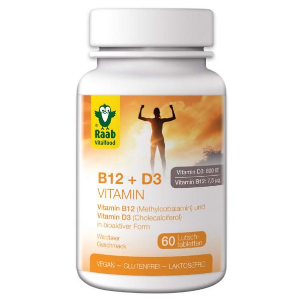 Vitamin B12 + D3, 60 Lutschtabletten à 1,5 g (90g) Raab Vitalfood