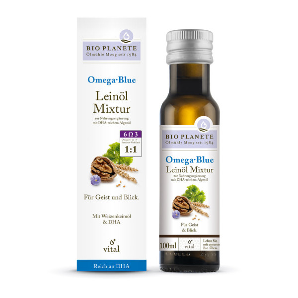 *Bio Omega Blue Leinöl-Mixtur zur Nahrungsergänzung (0,1l) BIO PLANÈTE